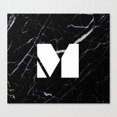 Black Marble - Alphabet M Canvas Print