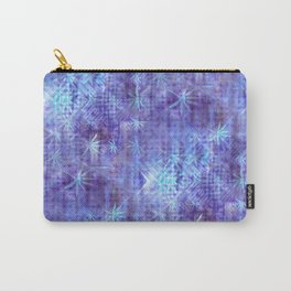 Blue and Lavender Leaves and Geometry Carry-All Pouch