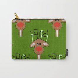 Christmas Reindeer Green Carry-All Pouch