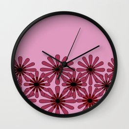Pink Flower Pattern 1 Wall Clock