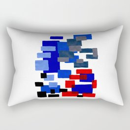 Modern Mid Century Abstract Geometric Cube Square Acrylic Painting Blue With Red Accents Rectangular Pillow