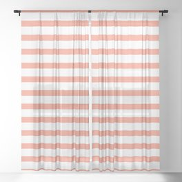 Seamless coral striped pattern on white Sheer Curtain