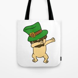 Dabbing St Patrick_s Day Pug Dog Leprechaun Tote Bag