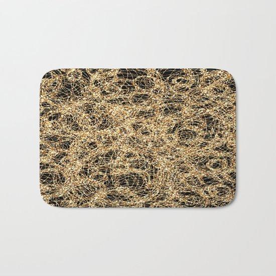 Gold Thread on Black   Abstract Brain Map 3 Bath Mat