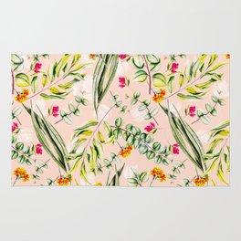 Pattern leaf and flowers II Rug