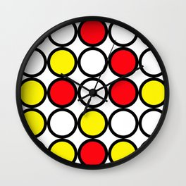 Abstract circle pattern grid with red and yellow colours Wall Clock