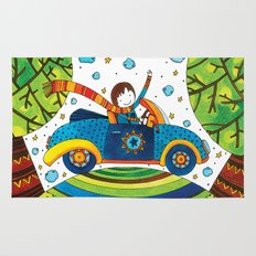 Boy driving a convertible Rug