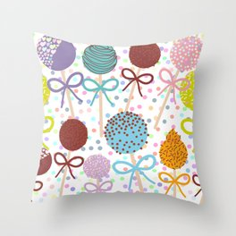 seamless pattern Colorful Sweet Cake pops set with bow on white polka dot background Throw Pillow