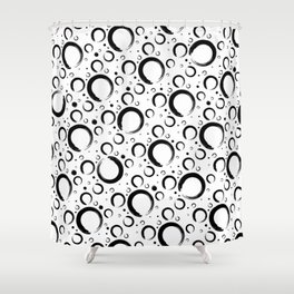 Enso Circle - Zen pattern Black and white Shower Curtain