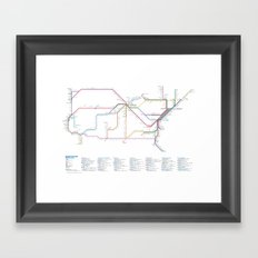 Amtrak as Subway Map 2016 - Sunset Limited Version Framed Art Print