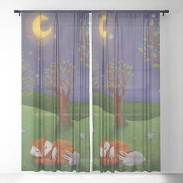 Fox And Bunny Dreaming The Night Away Sheer Curtain