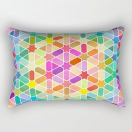 Rainbow Honeycomb with Stars Rectangular Pillow