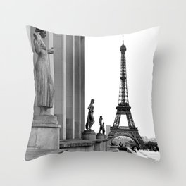 Trocadero Eiffel Tower Paris Throw Pillow