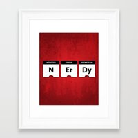 periodic table Framed Art Prints featuring Nerdy Periodic Table by EnvyArt