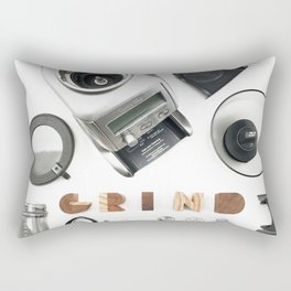 Grind // Exploded View Espresso Coffee Grinder Wood Block Typography Lettering Photograph Rectangular Pillow