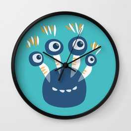 Cute Blue Four Eyed Monster Wall Clock
