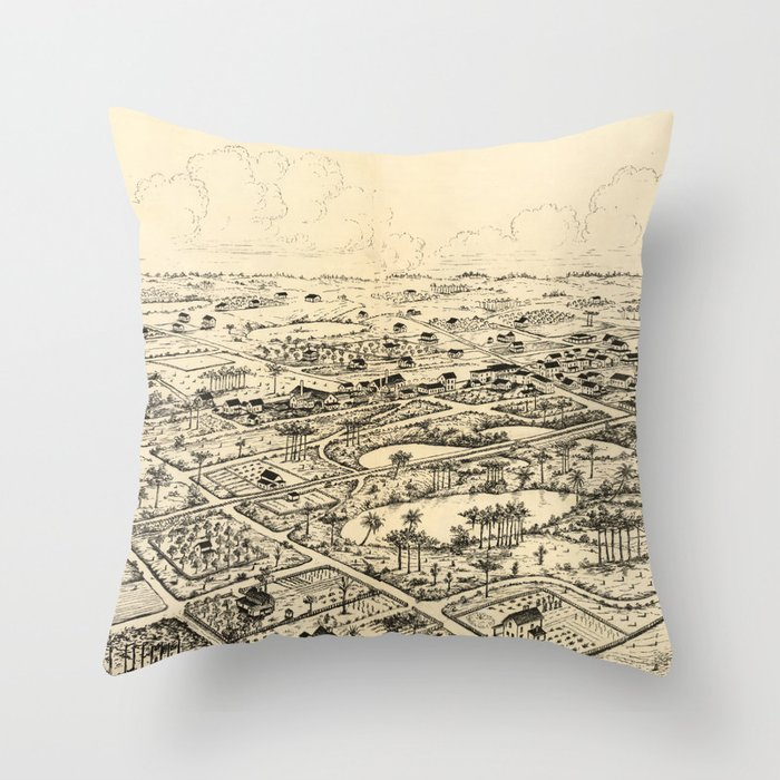 Longwood Florida Map.Vintage Pictorial Map Of Longwood Florida 1885 Throw Pillow By
