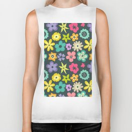 Artistic hand painted teal yellow violet floral illustration Biker Tank