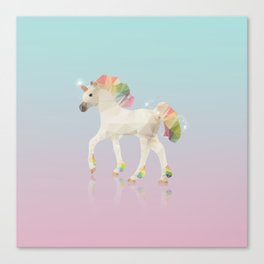 Colorful Unicorn Low Poly Polygonal Illustration Canvas Print