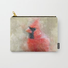Northern Cardinal Watercolor Splatter Carry-All Pouch