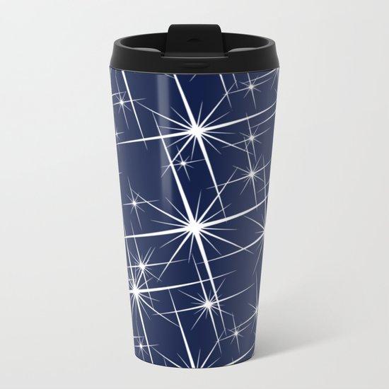 Indigo Navy Blue Starry Night Metal Travel Mug