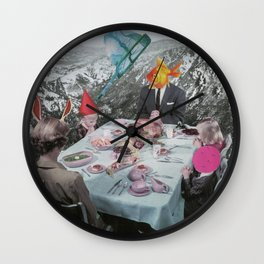 FAMILY AFFAIR- Contemporary Surrealist Collage Wall Clock