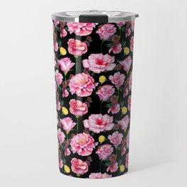 Modern pink green yellow watercolor roses pattern Travel Mug