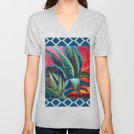 TEAL-TURQUOISE PATTERNED DESERT AGAVE CACTI PAINTING Unisex V-Neck