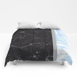 Light Blue Flower Meets Gray Black Marble #4 #decor #art #society6 Comforters
