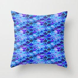 Blue Mermaid Skin Throw Pillow