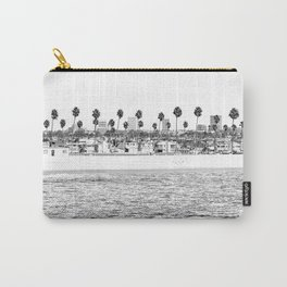 Vintage Newport Beach Print {4 of 4} | Photography Ocean Palm Trees B&W Tropical Summer Sky Carry-All Pouch