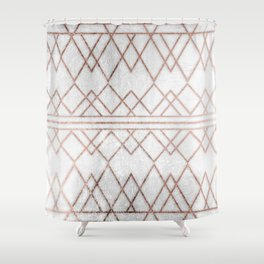 Chic & Elegant Faux Rose Gold Geometric Triangles Shower Curtain