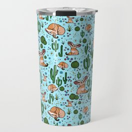 Fennec Foxes in Blue Travel Mug