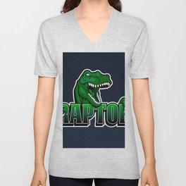 cartoon raptor Unisex V-Neck
