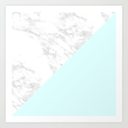 White Marble with Pastel Blue and Grey Art Print