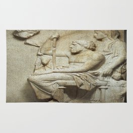 Marble grave stele with a family group Rug