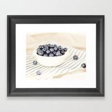 Scalloped Cup Full of Blueberries - Kitchen Decor Framed Art Print