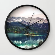 Green Blue Lake and Mountains - Eibsee, Germany Wall Clock