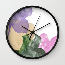 Pretty Pastel Roses on White Background Wall Clock