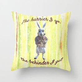 White Rabbit shares his wisdom Throw Pillow