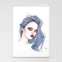sky ferreira Stationery Cards featuring Sky Ferreira /  Blue  by Lucas David