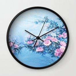 Wild Rose Bush In The Evening. Wall Clock
