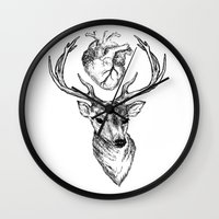 cargline Wall Clocks featuring Hipster Deer by cargline