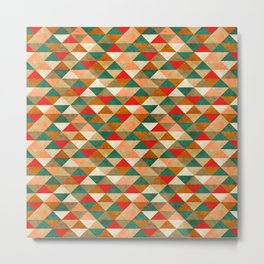 Red & Green Geometric Aztec Triangles Metal Print