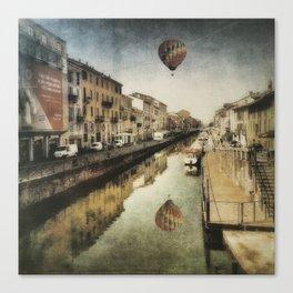 Air balloon over the canal Canvas Print