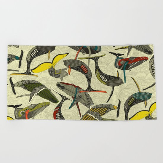 whales and waves bold Beach Towel
