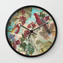 Parrots and Flora Wall Clock