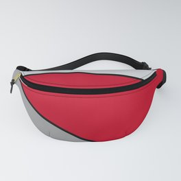 Diagonal Color Blocks in Red and Grays Fanny Pack