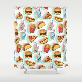 Rainbow Fast Food Shower Curtain