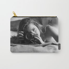 Butterfly Kisses, Turning the Camera on you, female form nude black and white photograph Carry-All Pouch